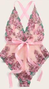 Floral Tie Front Mesh Teddy